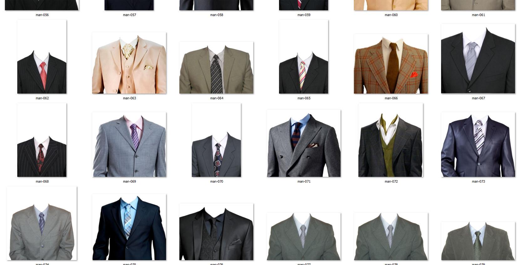 Коллекция мужских костюмов для фотошопа.