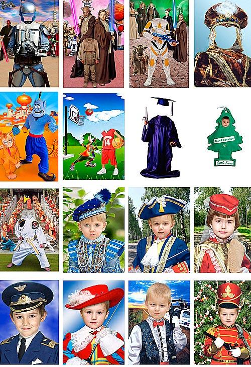 бесплатные шаблоны для фотокомонтажа, детские портреты