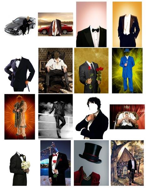 костюмы в psd для мужского коллажа