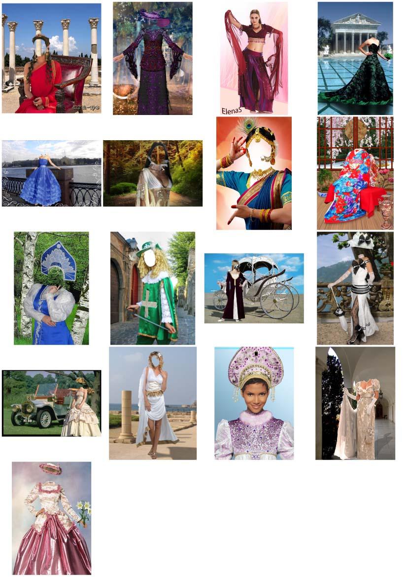 костюмы исторические женские в psd