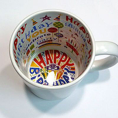 #8ART - Кружка белая с рисунком внутри LOVE и HAPPY BIRTHDAY
