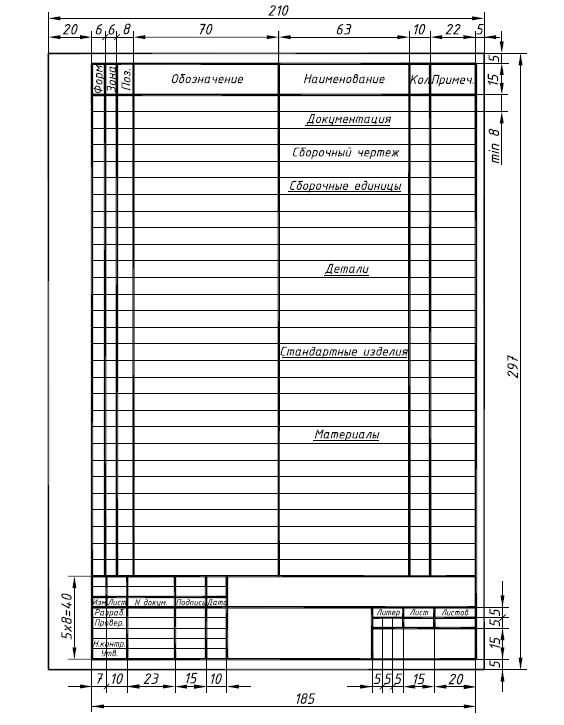 бланки спецификация к чертежу образец - фото 9