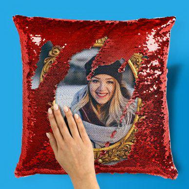Подушки с пайетками с Вашим фото на заказ!