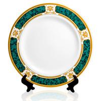 тарелка зеленая с золотым